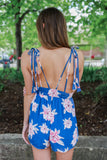 Floral Print Ruched Waist Open Back Romper