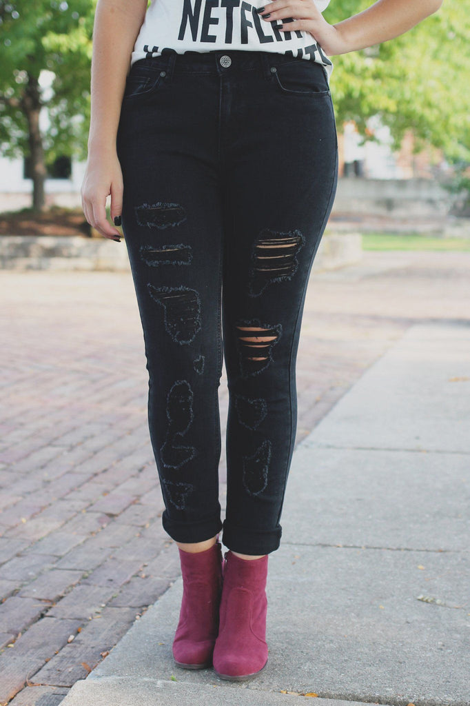 Black High Waisted Distressed Skinny Denim