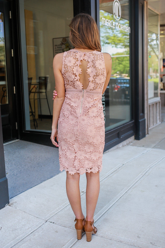 Peach Lace Sleeveless High Neck Midi Dress