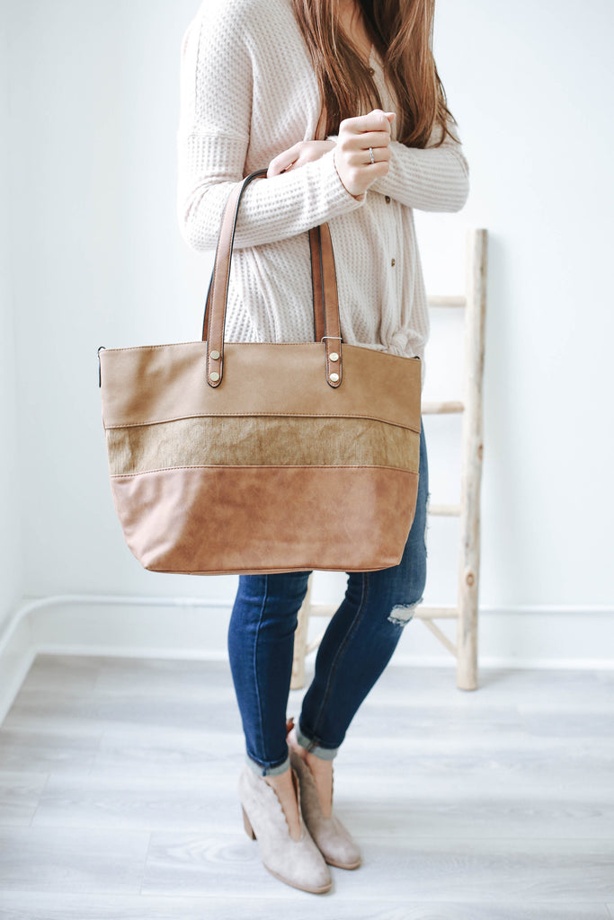 Faux Leather Canvas Tote - Online Clothing Boutique