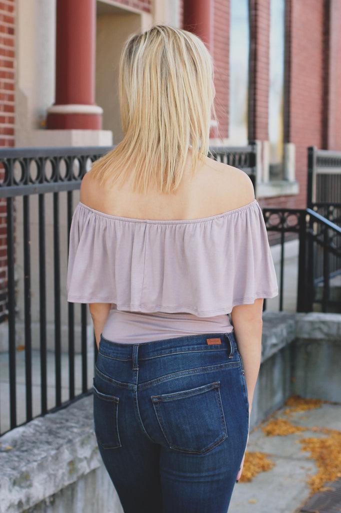Taupe Off the Shoulder Flounce Layer Bodysuit