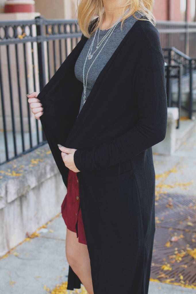 Black Long Sleeve Open Front Soft Ribbed Knit Cardigan