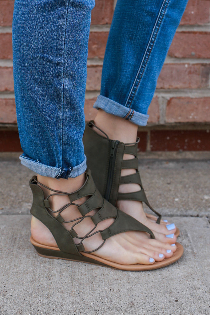 Olive Faux Leather Cutout Accent Mini Wedge Sandal Dartina