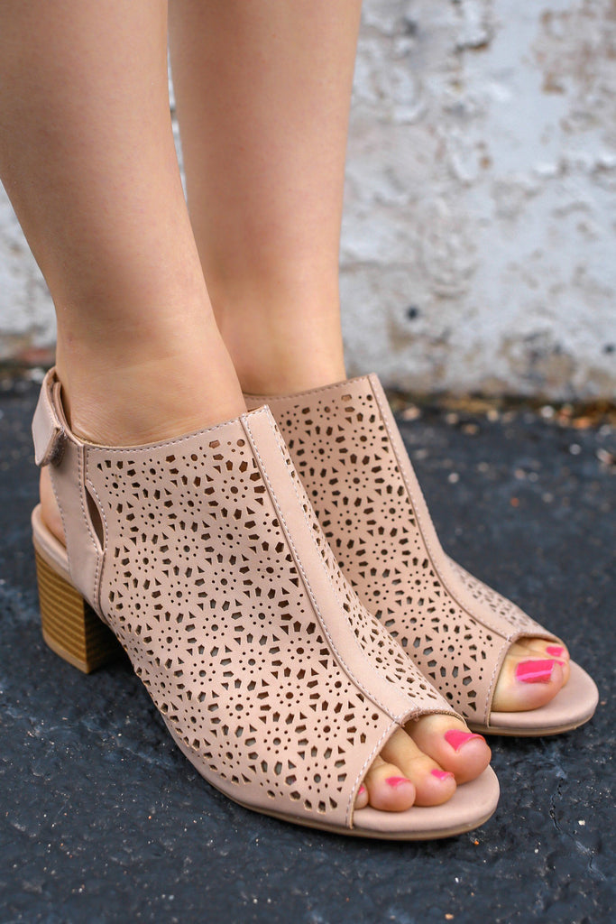 Faux Leather Open Toe Perforated Heels Elect-S