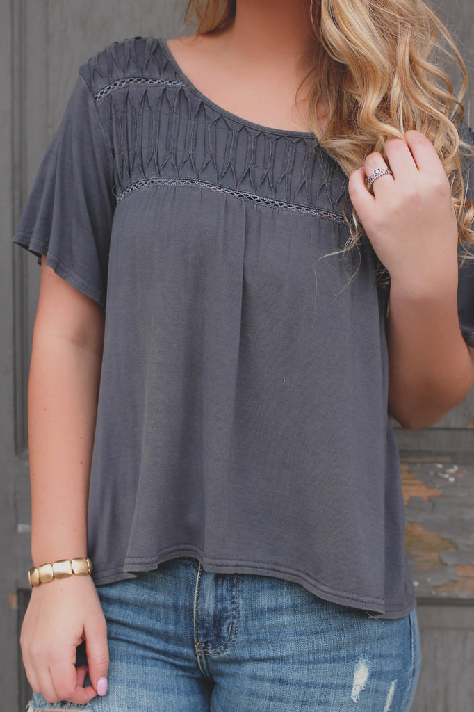 Charcoal High-low Hem Perforated Accent Top