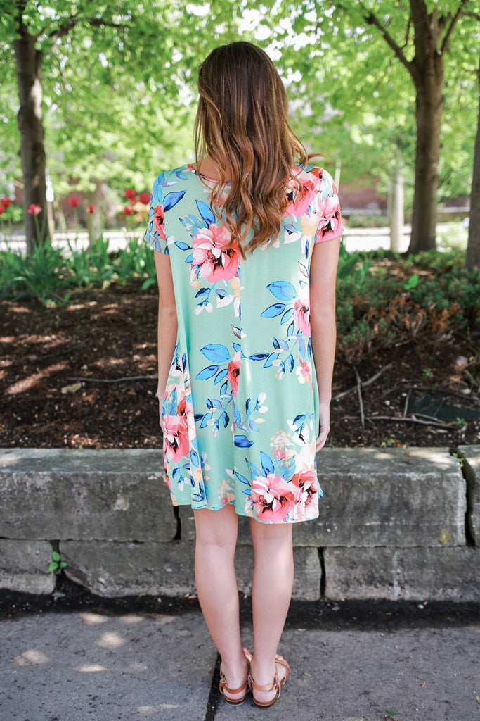Honeydew Floral Print Hidden Pocket T-Shirt Dress