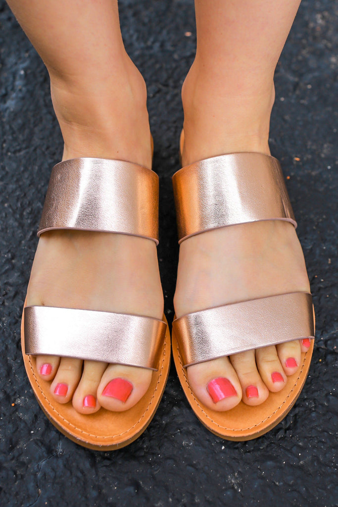 Rose Gold Metallic Open Toe Slide Sandals Allie-S