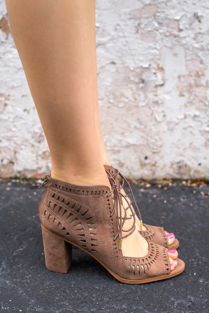 Faux Suede Cut Out Lace Up Heels Yorker-H