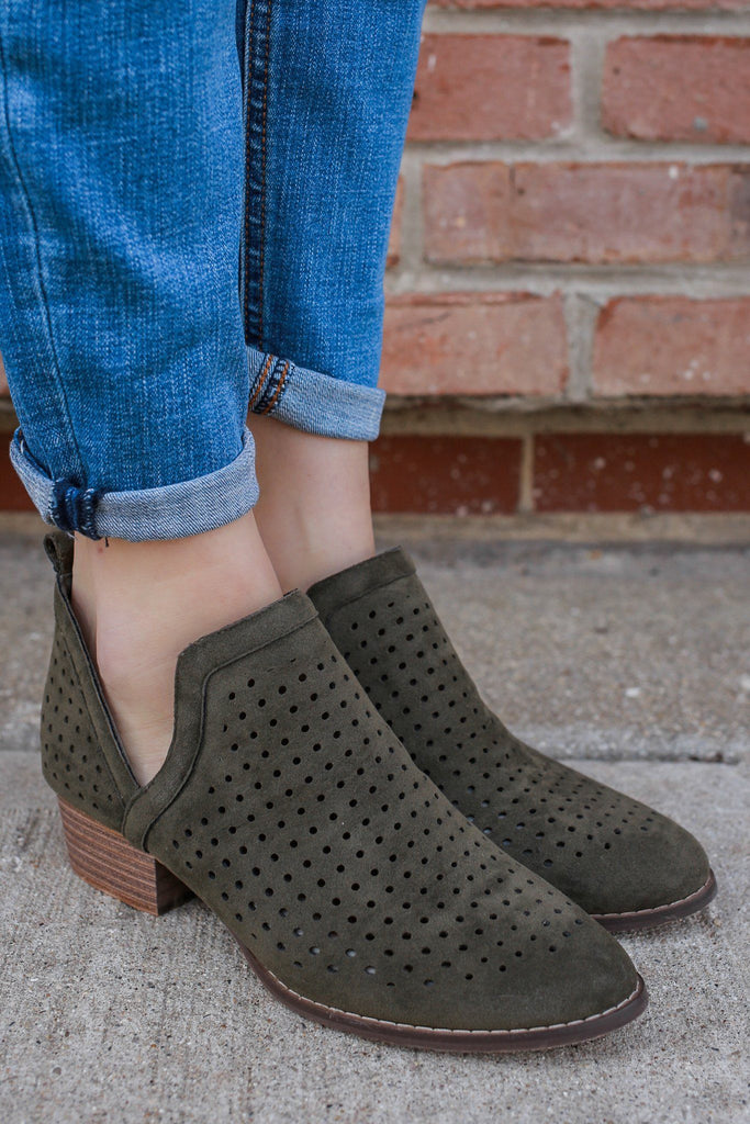 Faux Suede Perforated Ankle Cutout Booties Paladino-50