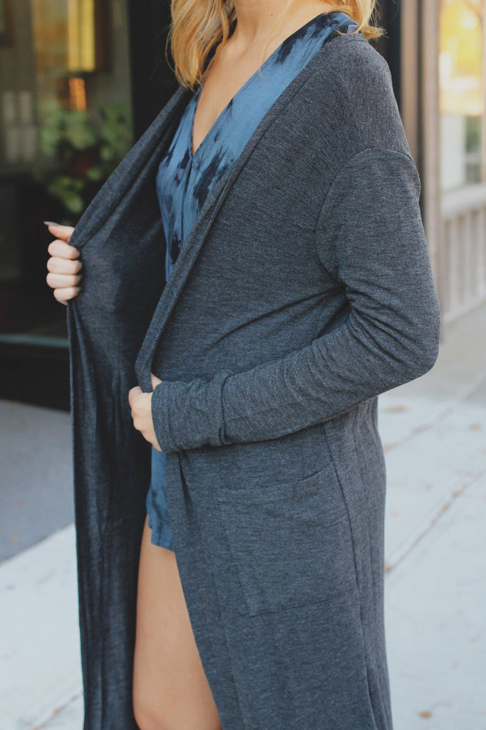Charcoal Long Sleeve Open Front Ribbed Knit Cardigan