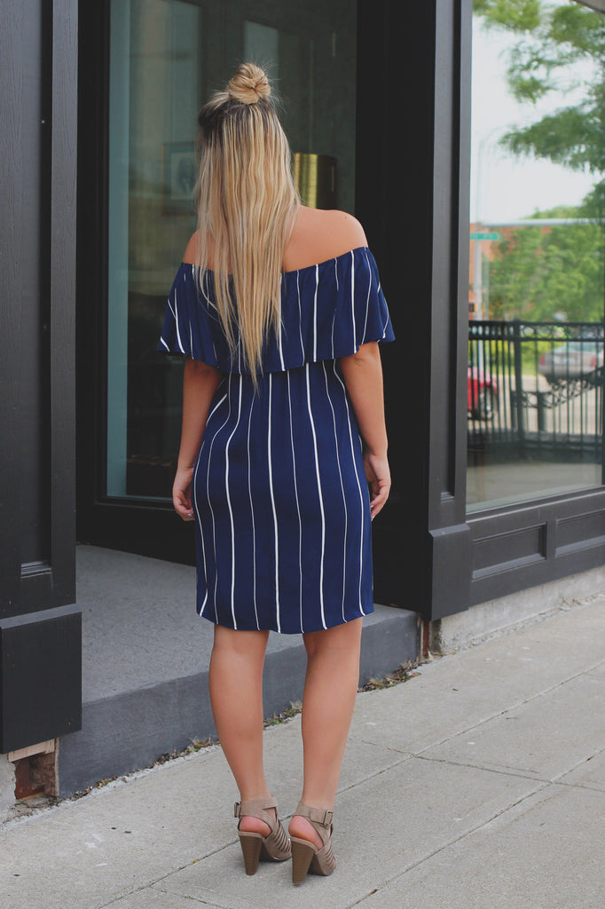 Striped Off the Shoulder Flounce Accent Shift Dress