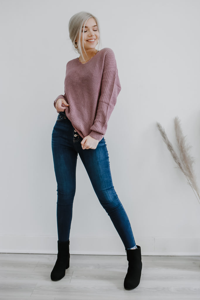 Long Sleeve Twist Back Knit Sweater | Stylish & Affordable | UOI Online