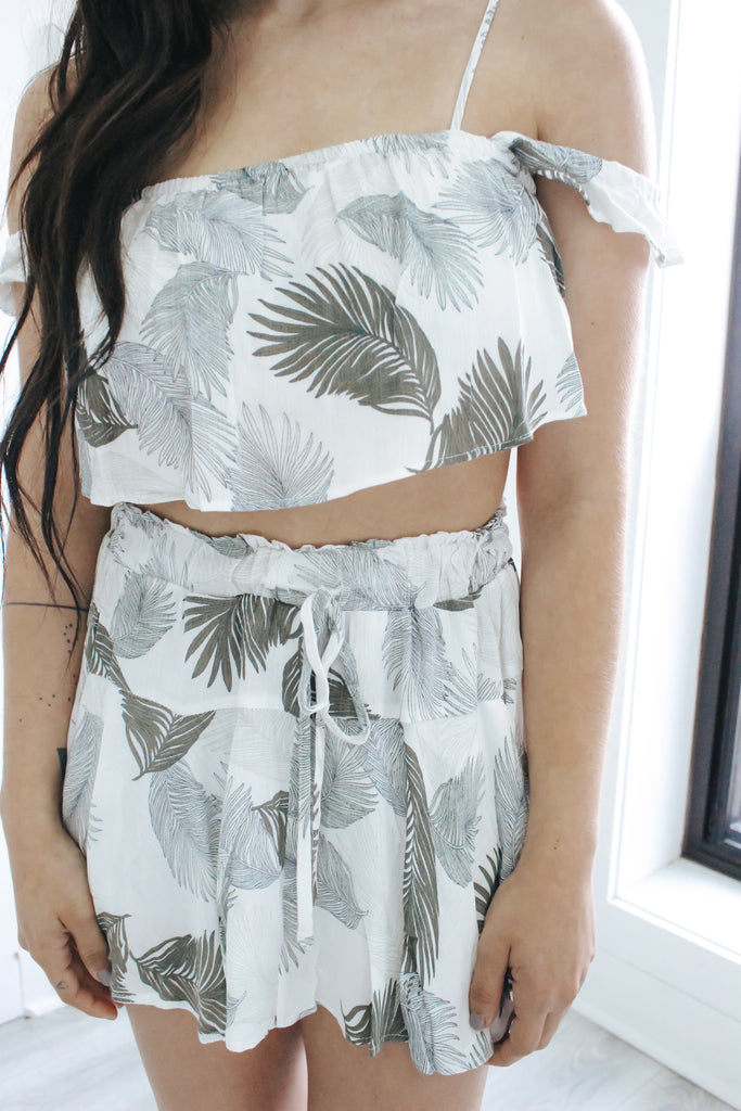 Tropical Print Two-Piece Romper - Online Clothing Boutique