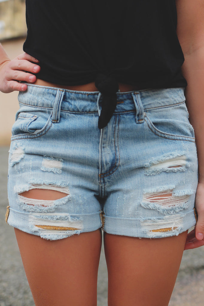Destroyed Rolled Hem Light Wash Denim Shorts