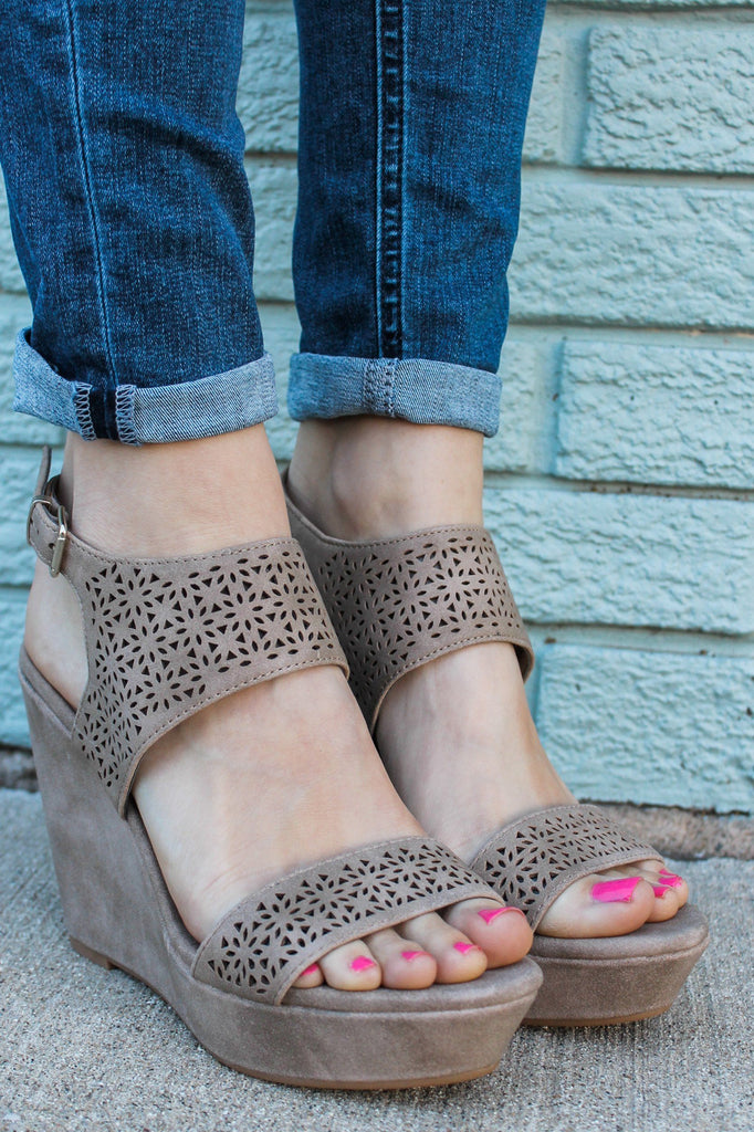 Taupe Faux Leather Perforated Detail Platform Wedges Kobo-S