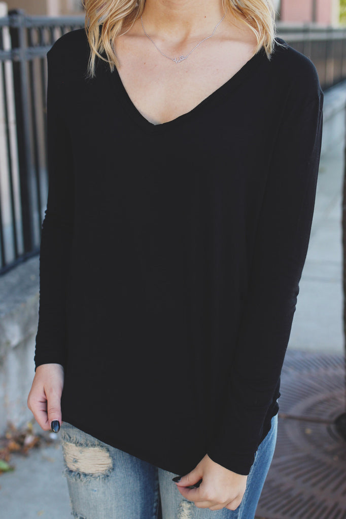 Black Long Sleeve V-neck Top