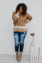 Long Sleeve Color Block Knit Sweater | Stylish & Affordable | UOI Online