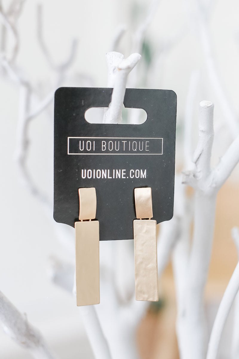 Rectangle Metal Earrings | Stylish & Affordable | UOI Online
