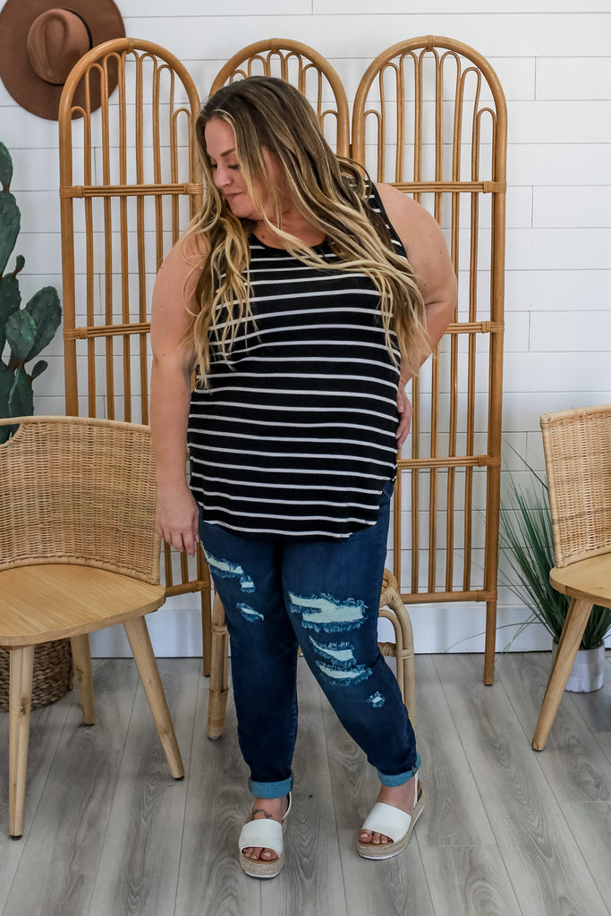 Plus Size Round Neck Striped Tank | Stylish & Affordable | UOI Online