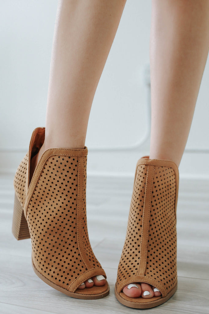 CADENCE-01 PEEP TOE BOOTIES - ONLINE CLOTHING BOUTIQUE