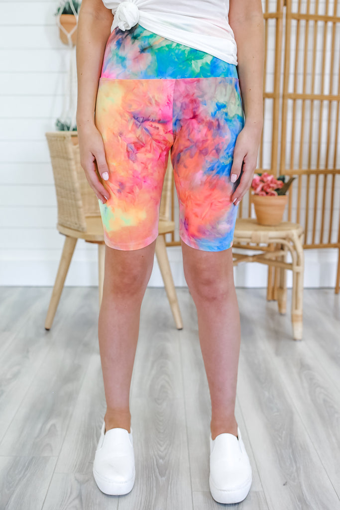 High Rise Tie Dye Biker Shorts | Stylish & Affordable | UOI Online