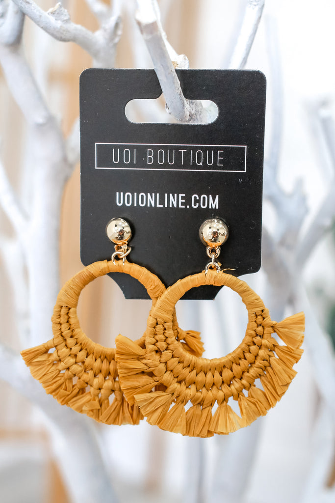 Straw Hoop Earrings | Stylish & Affordable | UOI Online