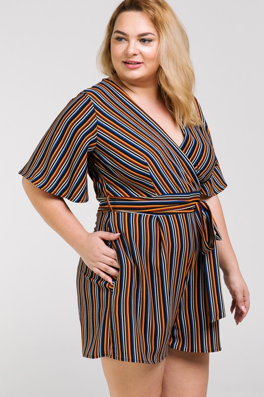 Plus Size Striped Romper | Stylish & Affordable | UOI Online