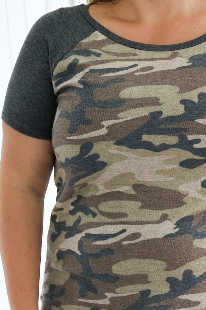 Plus Size Camo Baseball Tee - Online Clothing Boutique