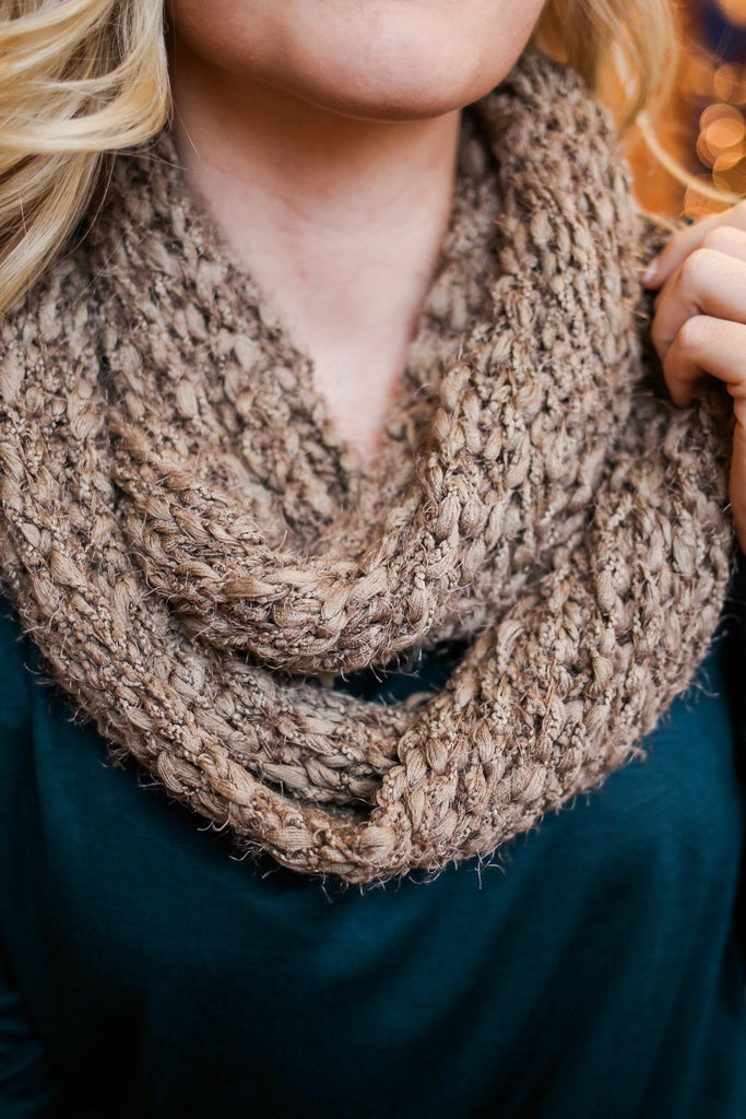 Beige Textured Knit Infinity Scarf