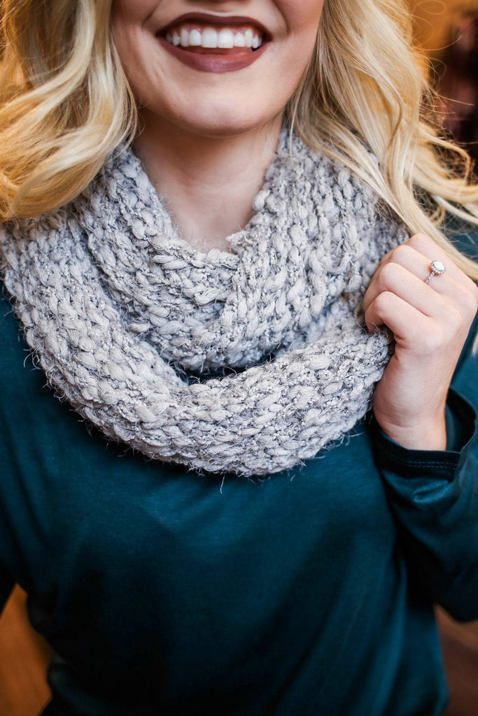 Grey Textured Knit Infinity Scarf