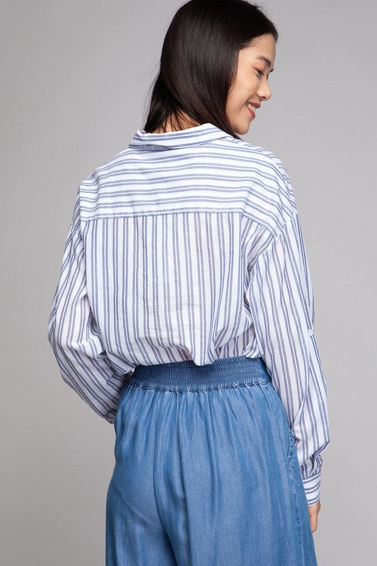 Striped Button Up Top - Online Clothing Boutique