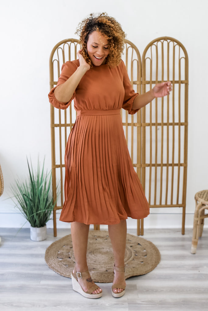 Pleated Midi Dress | Stylish & Affordable | UOI Online