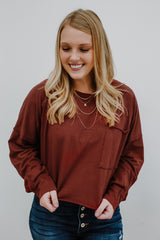 Boxy Long Sleeve Cropped Pocket Top | Stylish & Affordable | UOI Online