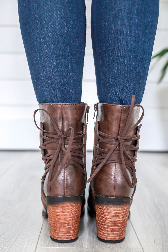 Ravenna-7 Faux Leather Heeled Boots - Online Clothing Boutique