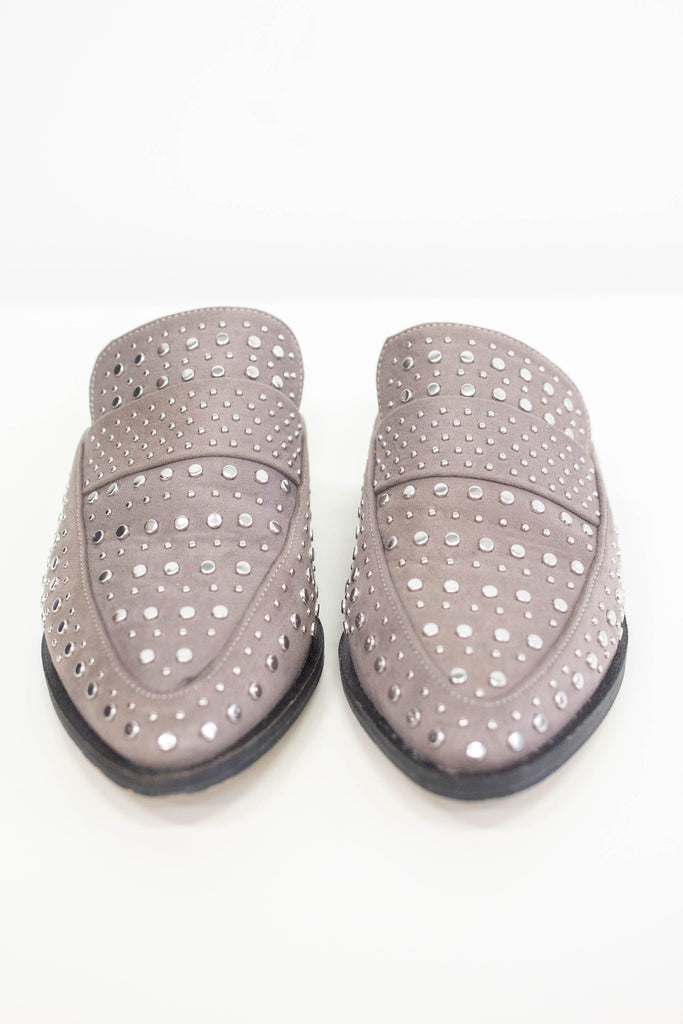 Faux Suede Studded Mules - Online Clothing Boutique