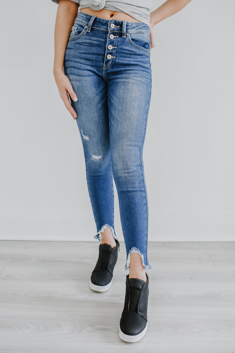 High Rise Button Front Denim | Stylish & Affordable | UOI Online