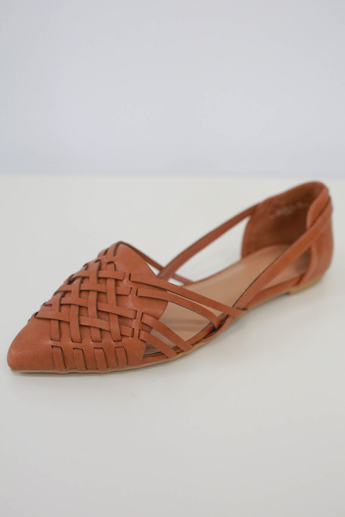 Faux Leather Woven Flats - Online Clothing Boutique