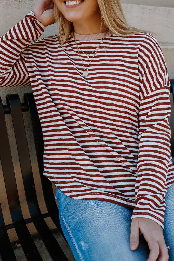 Long Sleeve Striped Knit Top | Stylish & Affordable | UOI Online