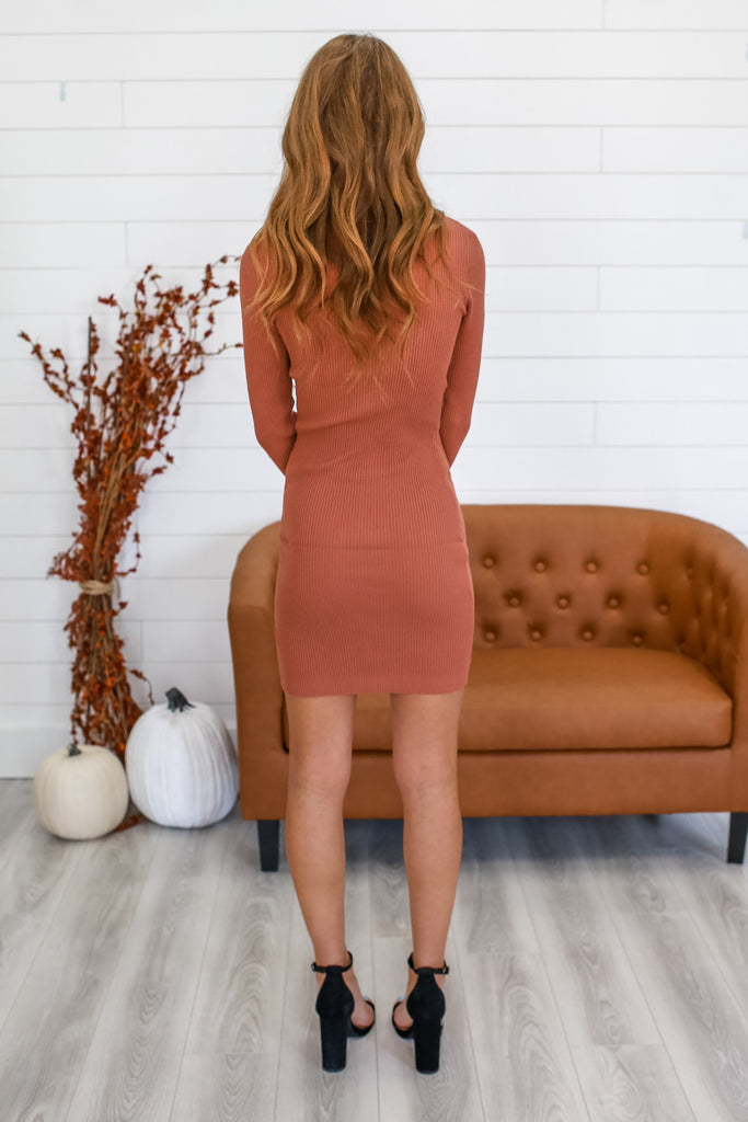Turtle Neck Ribbed Sweater Dress | Stylish & Affordable | UOI Online
