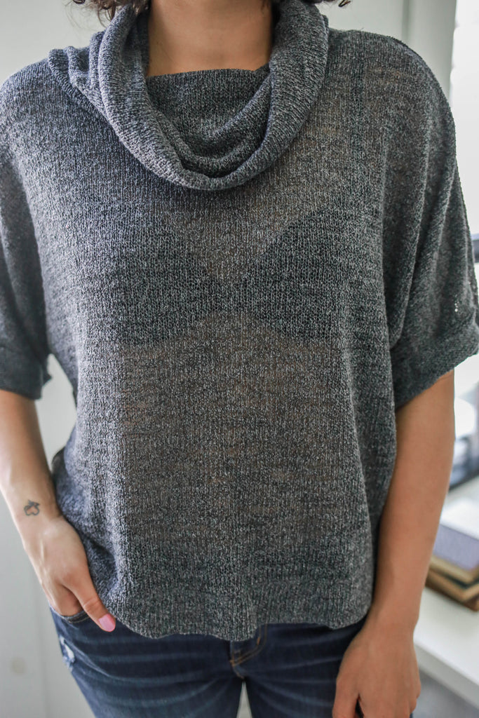 Cowl Neck Knit Top - Online Clothing Boutique