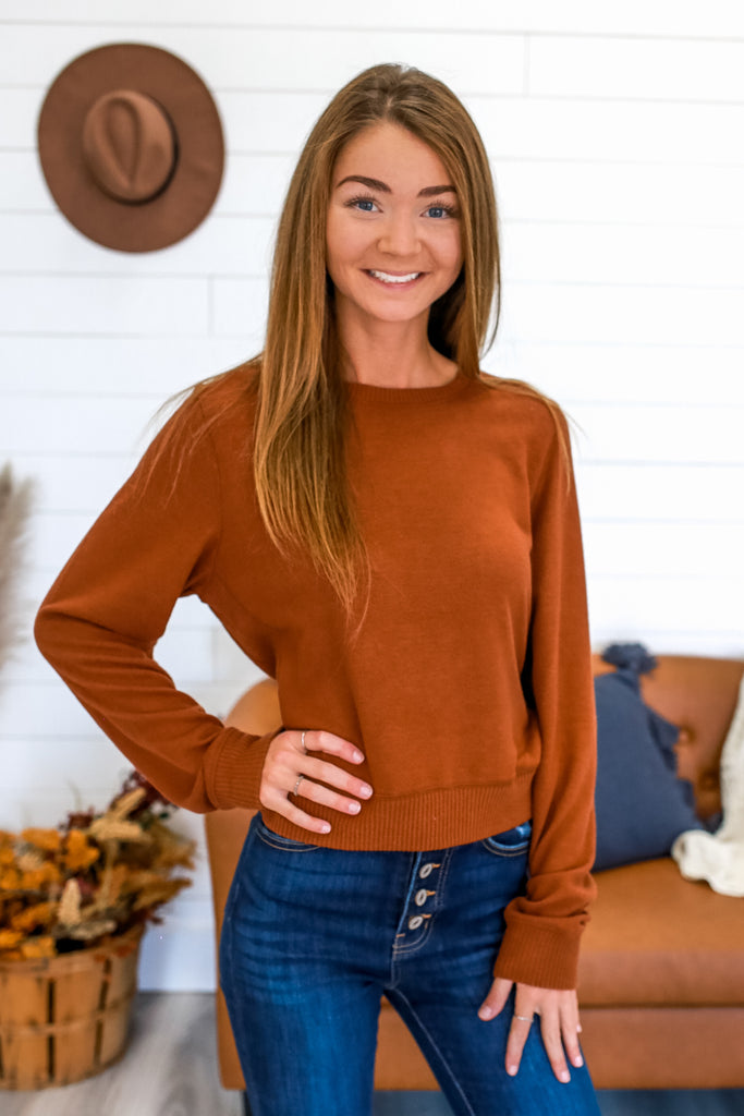 Long Sleeve Brushed Knit Crop Top | Stylish & Affordable | UOI Online