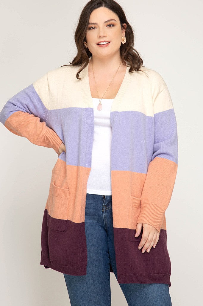 Plus Size Color Block Knit Cardigan - Online Clothing Boutique