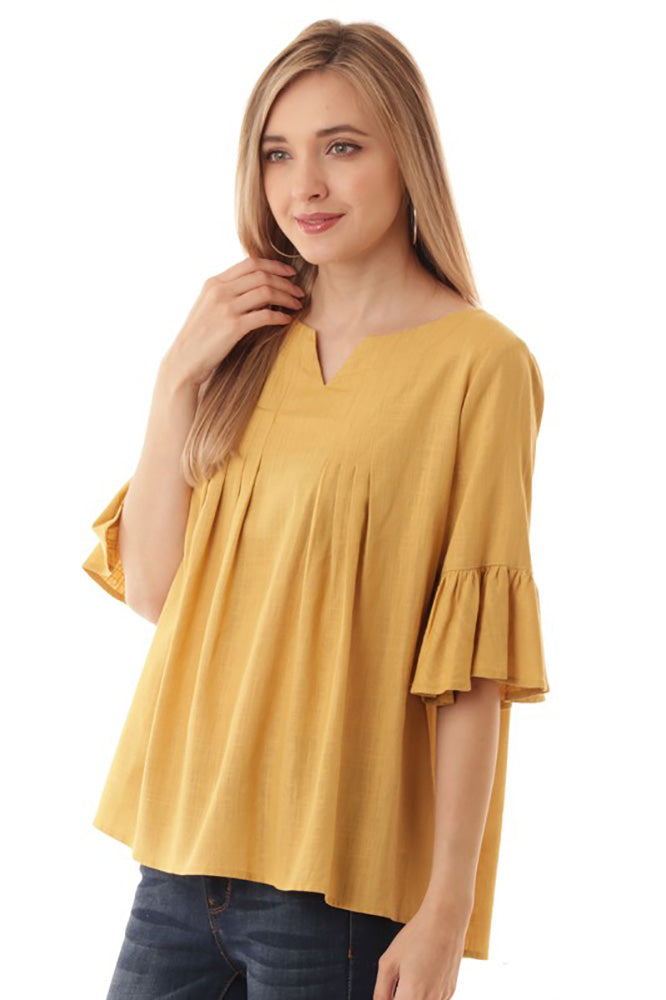 Flounce Sleeve Top - Online Clothing Boutique