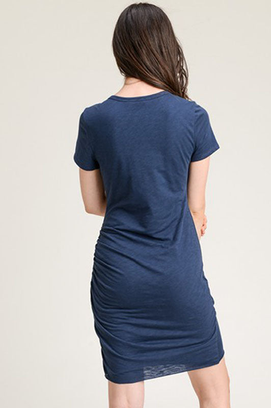 Ruched T-Shirt Dress - Online Clothing Boutique