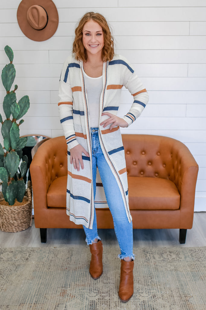 Striped Duster Cardigan | Stylish & Affordable | UOI Online