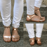 Rose Gold Toe and Ankle Strap Flat Sandals Kylee-13