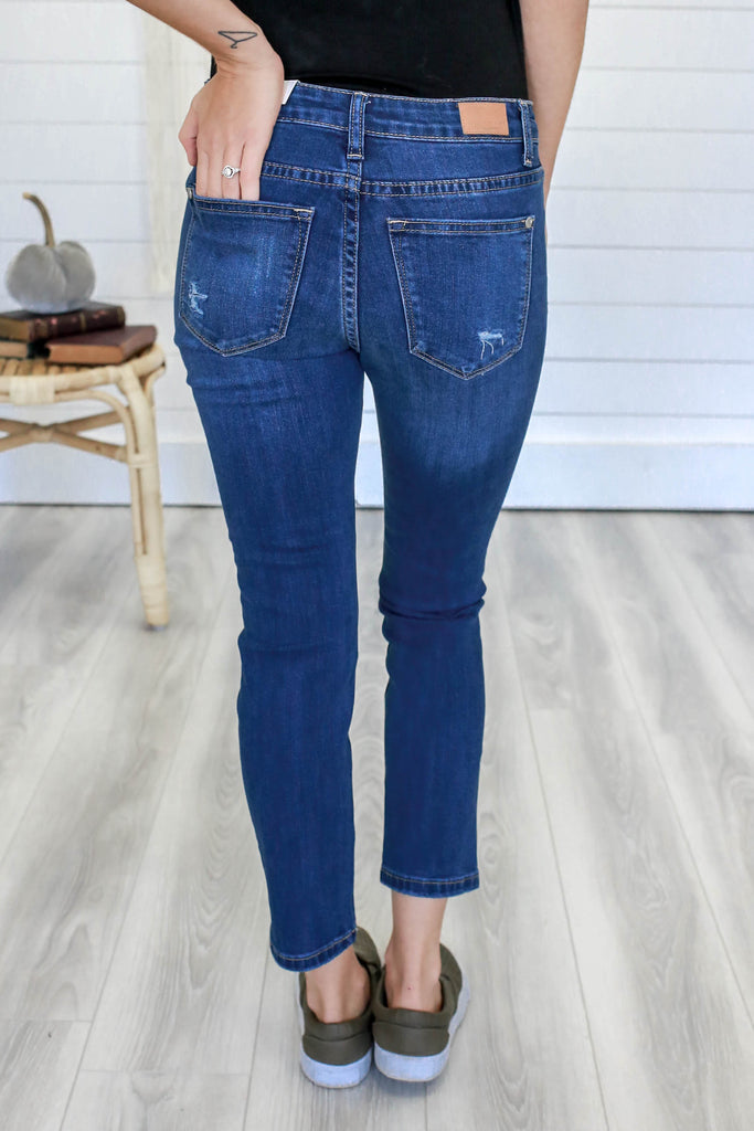 Distressed Denim Capris - Online Clothing Boutique