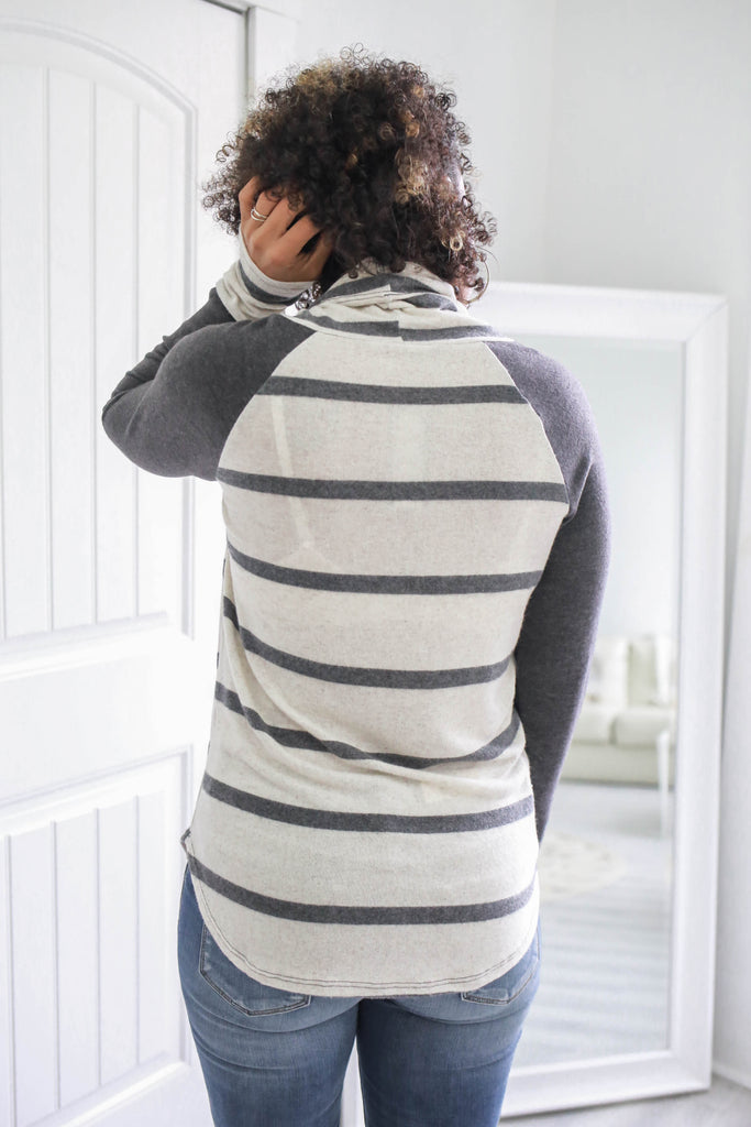 Striped Cowl Neck Top - Online Clothing Boutique
