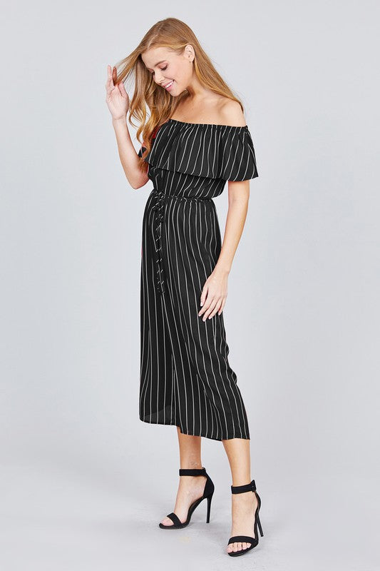 Striped Off The Shoulder Jumpsuit | Stylish & Affordable | UOI Online