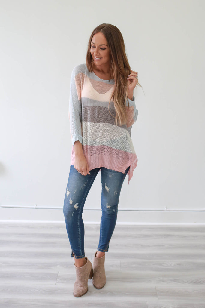 High-Low Sheer Knit Sweater - Online Clothing Boutique